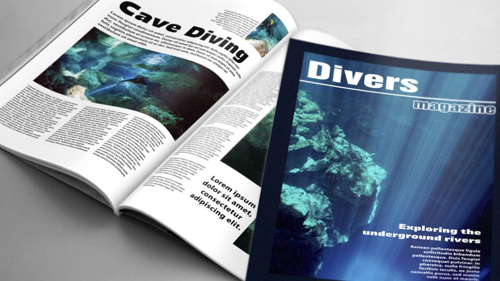 Example of editorial design for a divers magazine