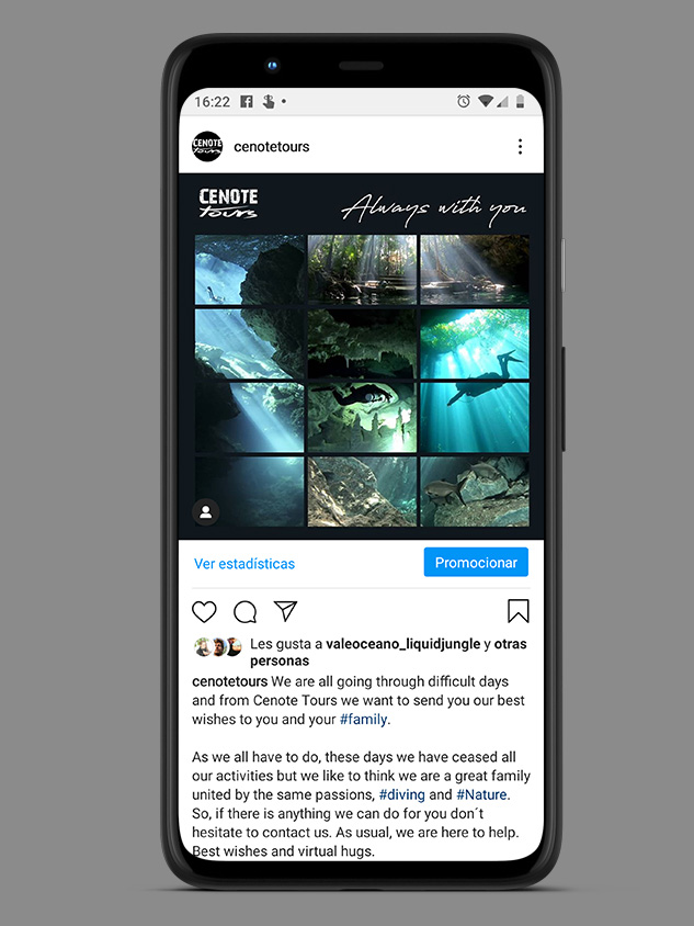COVID-19 campaing IG and FB for CenoteTours